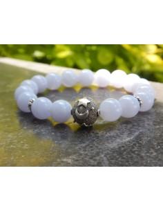 Bracelet en pierres naturelles de calcédoine en perles de 10 mm