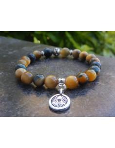 Bracelet en pierres naturelles d'oeil de tigre jaune bleu