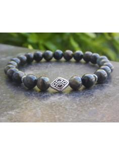 Bracelet homme oeil de faucon, perles 8 mm et sa perle noeud celtique