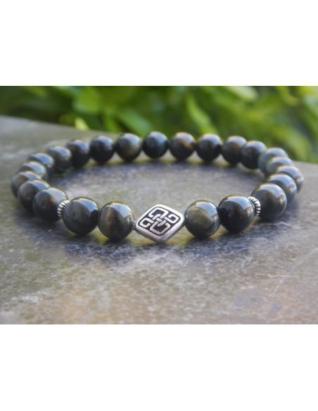 Bracelet homme en pierres naturelles d'oeil de faucon, perles 8 mm et sa perle noeud celtique en métal argenté