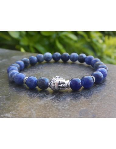 Bracelet homme en pierres naturelles de sodalite, perles 8 mm et sa perle de bouddha en métal argenté