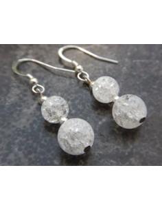 Paire de boucles d'oreilles en pierres naturelles de cristal de roche craquelé