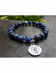 Bracelet sodalite, perles 8 mm, médaille arbre de vie
