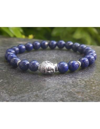 Bracelet homme lapis lazuli, perles 8 mm, tête de bouddha