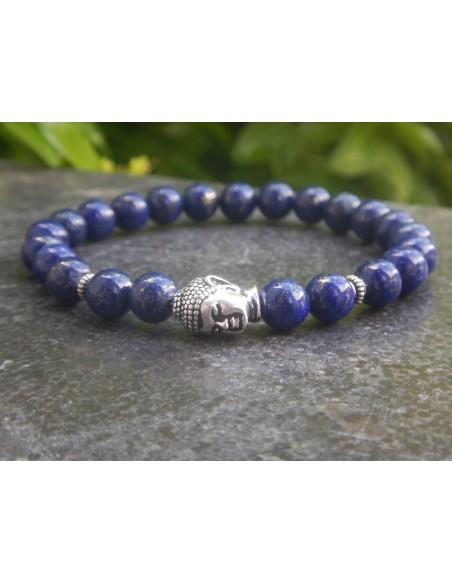 Bracelet homme en pierres naturelles de lapis lazuli, perles 8 mm et sa tête de bouddha en métal argenté