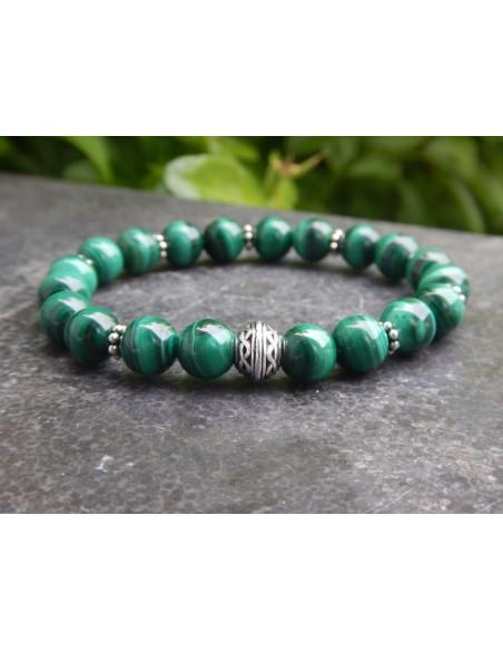 Bracelet en pierres de malachite et sa perle infini celte