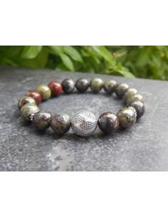Bracelet en jaspe dragon, perles de 10 mm et perle en argent