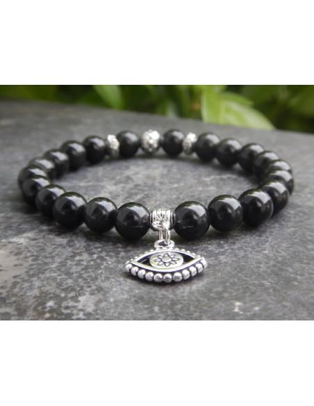 Bracelet en obsidienne oeil céleste et sa médaille de protection