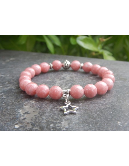 Bracelet en pierres de thulite perles de 8 mm et sa médaille étoile