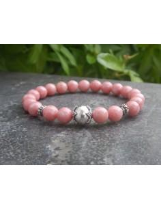 Bracelet en thulite perles de 8 mm et sa perle en argent faite main