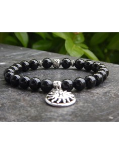Bracelet en spinelle noire et sa médaille soleil