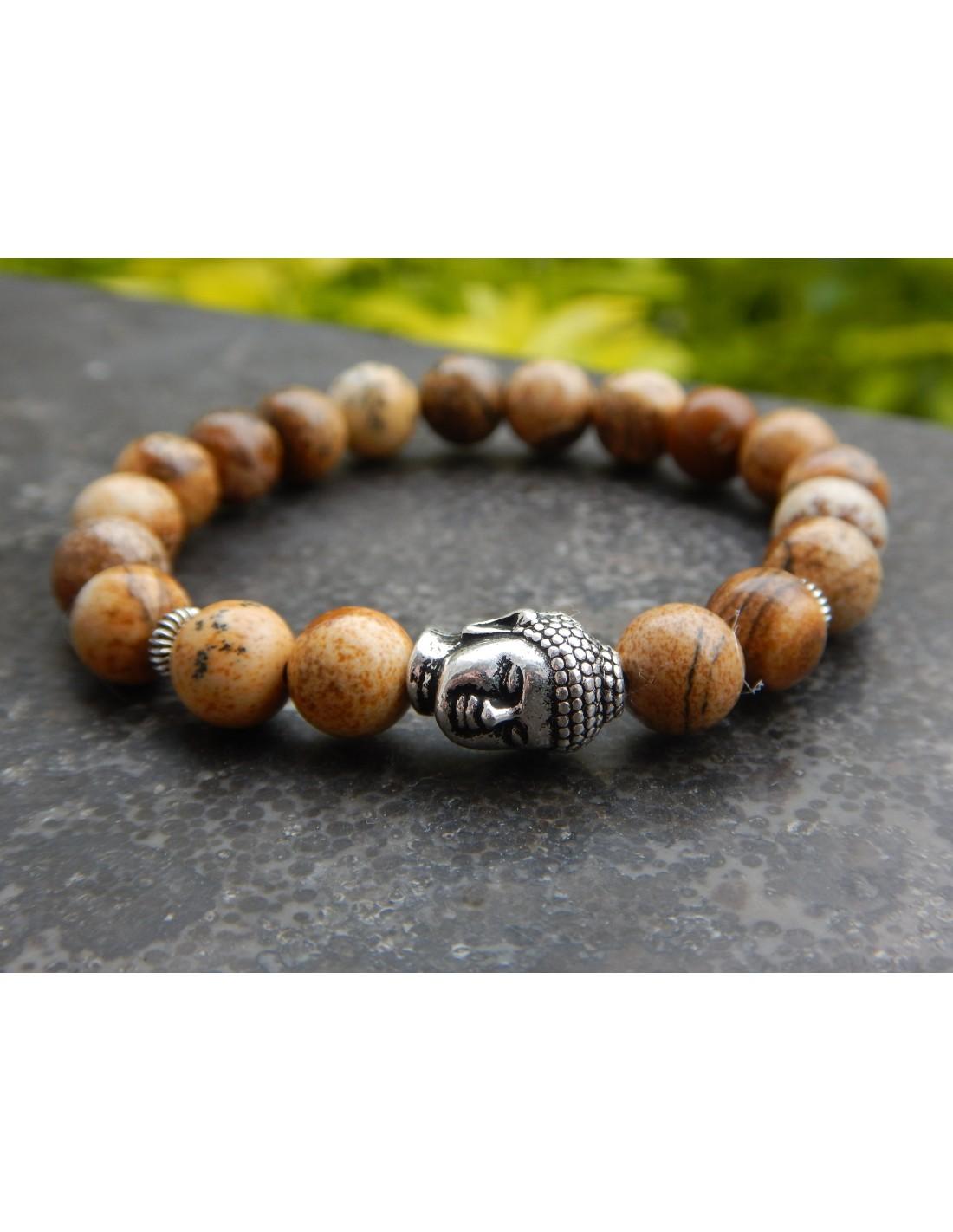 coupon de réduction nouvelles promotions prix bas Bracelet homme sur mesure, en pierres naturelles de jaspe paysage, perles  beige 8 mm, et sa perle bouddha, en métal argenté