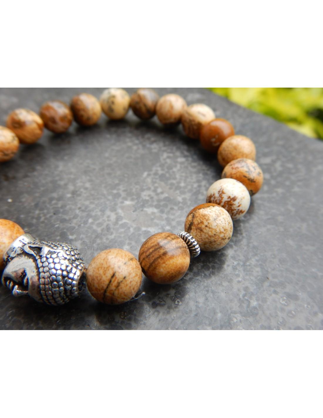 coupe classique nouveau sommet nouveau style de 2019 Bracelet homme sur mesure, en pierres naturelles de jaspe ...