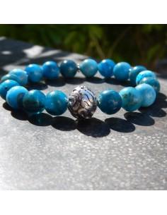 Bracelet en apatite, perles de 10 mm et sa perle en argent