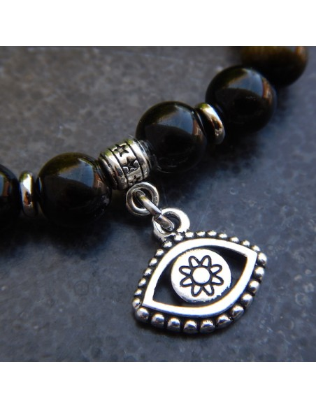Bracelet en obsidienne dorée, perles 8 mm et sa médaille et sa médaille oeil de protection