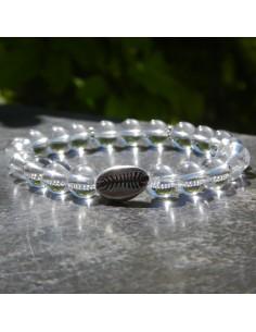 Bracelet en cristal de roche et son petit coquillage