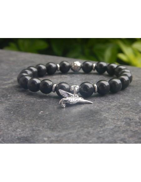 Bracelet en shungite, perles de 8 mm et sa médaille colibri