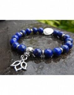 Bracelet en lapis lazuli, perles de 8 mm, perle mandala et médaille fleur de lotus en métal argenté