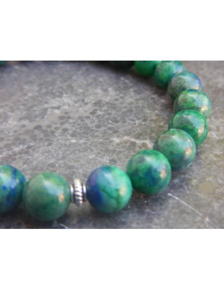 Bracelet en azurite malachite, perles 8 mm et sa perle celtique en métal argenté