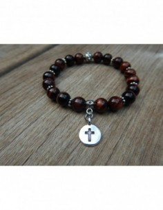 Bracelet en œil de taureau et sa croix en métal argenté