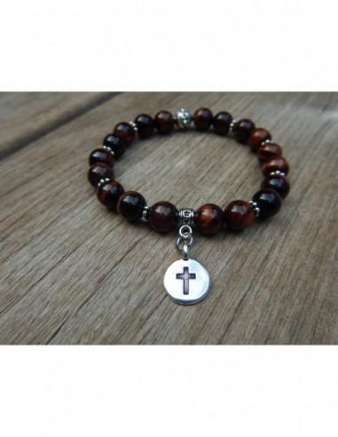 Bracelet œil de taureau, perles 8 mm et médaille croix