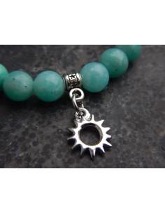 Bracelet en amazonite d'Afrique et sa médaille soleil