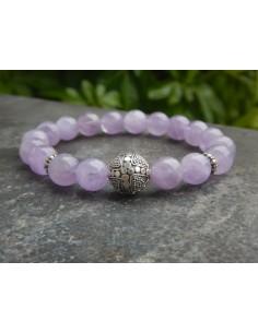 Bracelet en améthyste lavande, perles de 10 mm et sa perle de Bali en argent