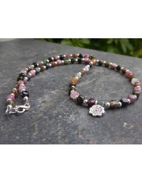 Collier en tourmaline multicolore