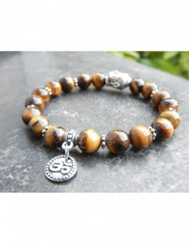Bracelet en pierres naturelles d'oeil de tigre, médaille Aum et perle bouddha en métal argenté