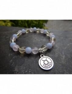 """Bracelet astrologique """"Taureau"""" composé de pierre de citrine, calcedoine et Quartz rose et sa médaille astrologique Taureau"""
