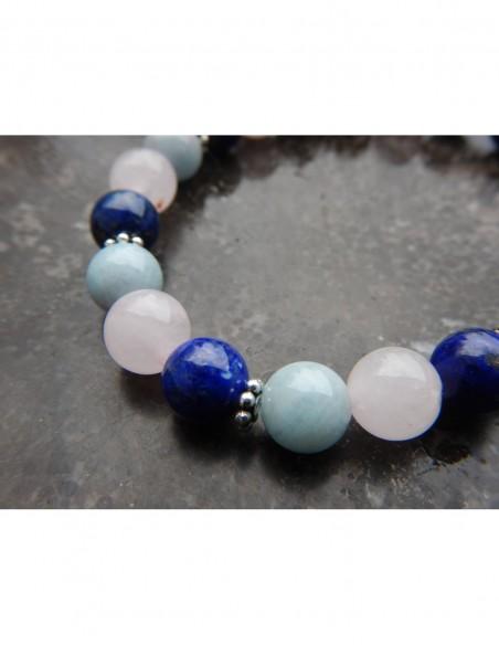 """Bracelet astrologique """"Scorpion"""" composé de perles de lapis lazuli, Quartz rose et aigue -marine et sa médaille Scorpion"""