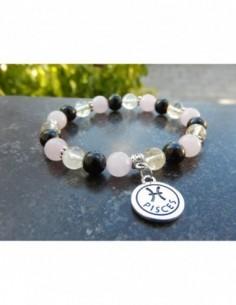 """Bracelet Astrologique """"Poisson"""" composé de citrine, tourmaline et Quartz rose et sa médaille Poisson en métal argenté"""