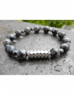Bracelet larvikite, perles 8 et 3 mm, perle de Bali en argent