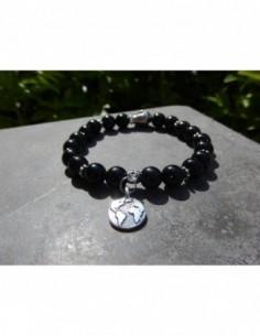 Bracelet en pierres naturelles de tourmaline noire 8 mm, Bouddha et médaille Terre en métal argenté