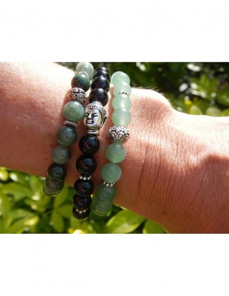 Bracelet en tourmaline noire 8 mm, Bouddha et médaille Terre en métal argenté