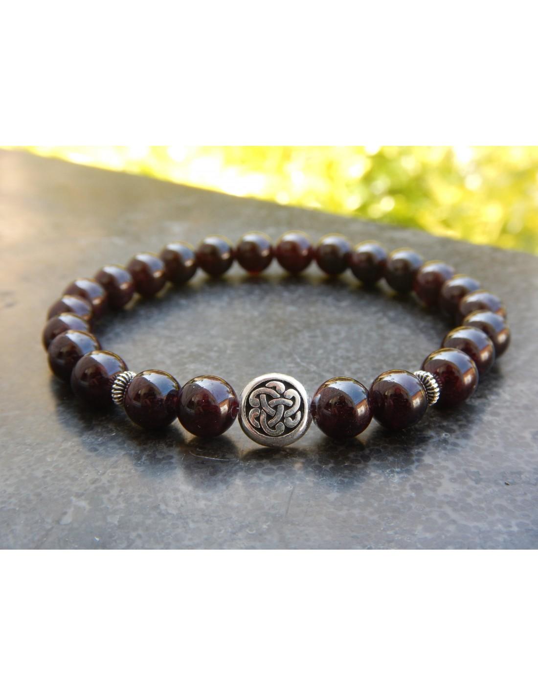 Nouvelle dégagement New York Bracelet homme sur mesure, en pierres naturelles de grenat, perles bordeaux  8 mm, et sa perle nœud celtique, en métal argenté