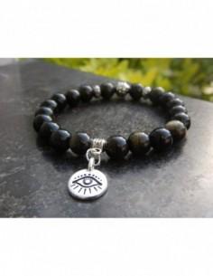 """Bracelet en pierres naturelles d'obsidienne dorée 8mm, perle style Bali et médaille """"oeil"""" en métal argenté"""