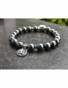 Bracelet en hématite, perles de 8 mm, perle bouddha et médaille Aum en métal argenté