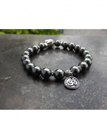 Bracelet en pierres naturelles d'hématite perles de 8 mm, perle bouddha et médaille Aum en métal argenté