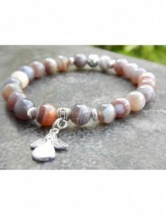 Bracelet en perles naturelles d'agate botswana et sa perle argentée