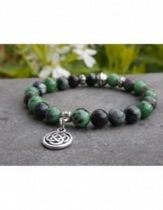 Bracelet en pierres naturelles de rubis zoizite perles de 8 mm et sa médaille double infini celtique en métal argenté