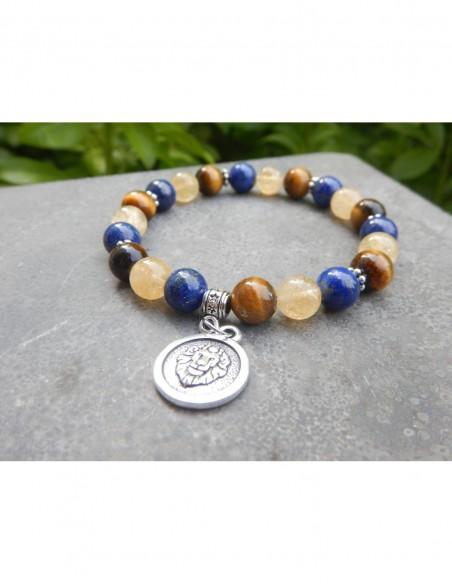 """Bracelet astrologique """"Lion"""" composé de citrine, lapis lazuli, oeil de tigre et sa médaille astrologique Lion"""