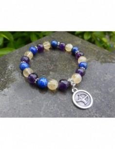 """Bracelet astrologique """"Sagittaire"""" composé de lapis lazuli, améthyste et citrine et sa médaille astrologique sagittaire"""