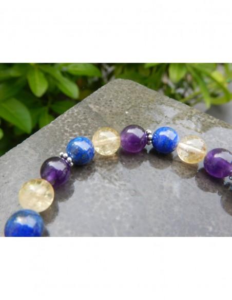 """Bracelet astrologique """"Sagittaire"""" lapis lazuli, améthyste et citrine et sa médaille astrologique sagittaire"""