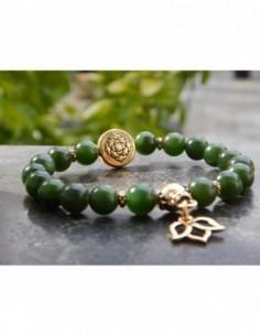 Bracelet en pierres naturelles de jade néphrite perles 8 mm, perle mandala et médaille fleur de lotus en métal doré