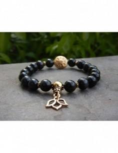 Bracelet en obsidienne, perles 8 mm, perle mandala et médaille fleur de lotus en métal doré