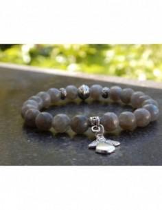 Bracelet en pierres naturelles de labradorite, perles de 8mm, perle argentée style Bali et sa médaille ange en métal argenté