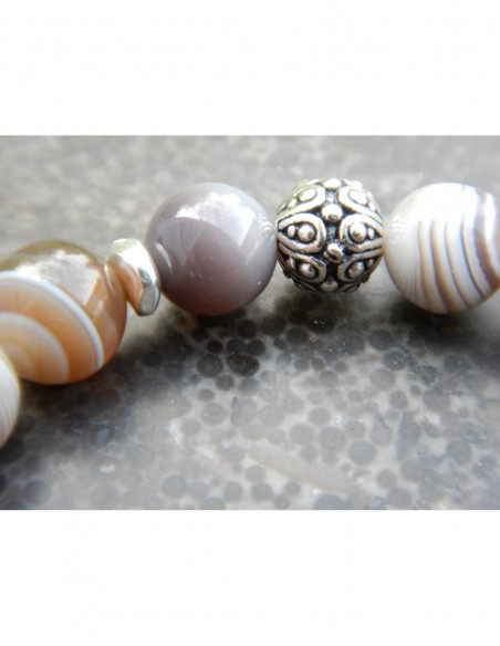 Bracelet agate botswana, médaille ange
