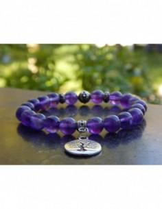 Bracelet en pierres naturelles d'améthyste perles 8 mm, avec médaille arbre de vie en métal argenté