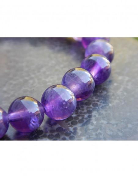 Bracelet en améthyste perles 8 mm, avec médaille arbre de vie en métal argenté
